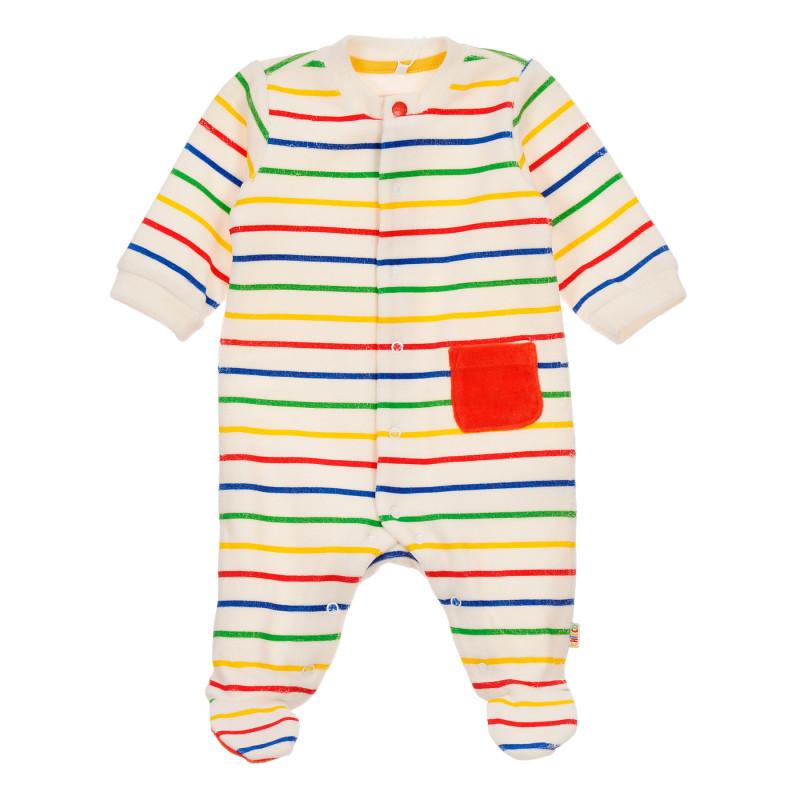 Плюшен гащеризон с цветни ивици за бебе, бял  246045