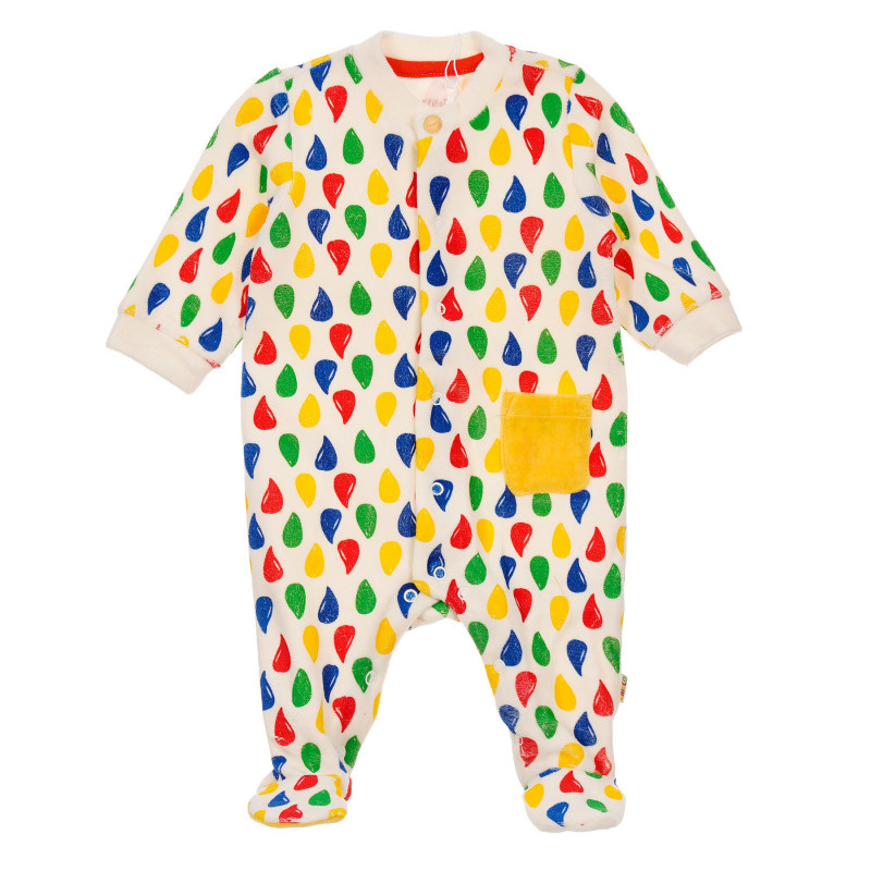 Плюшен гащеризон с цветен принт за бебе, бял  246049