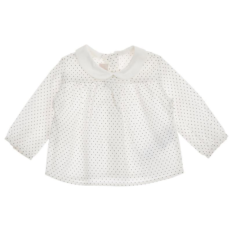 Памучна блуза с фигурален принт за бебе, бяла  246057