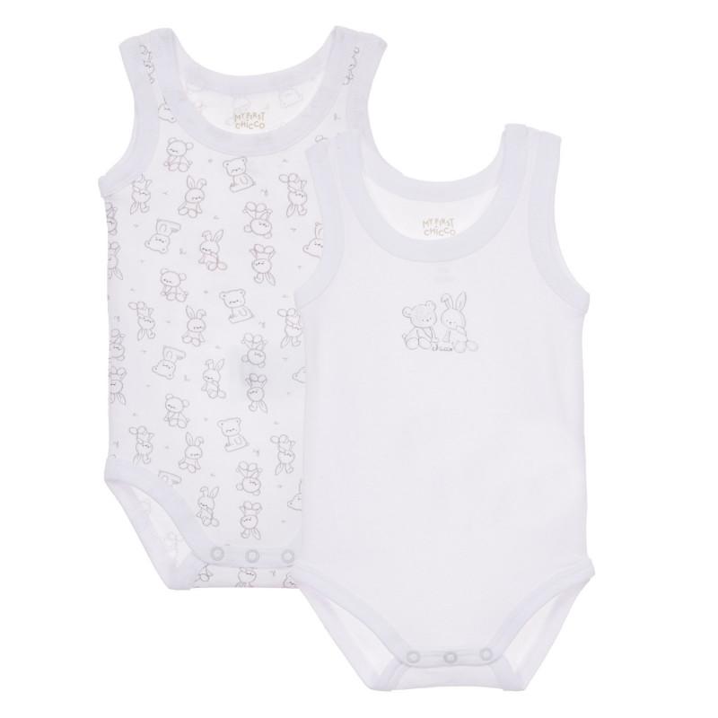 Памучен комплект от два броя бодита за бебе, бели  246101