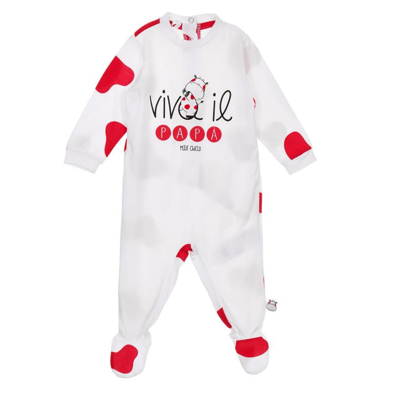 Памучен гащеризон с червени акценти за бебе, бял  246108