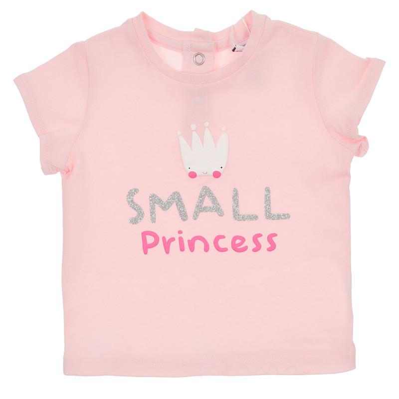 Памучна тениска Small Princess за бебе, розова  246116