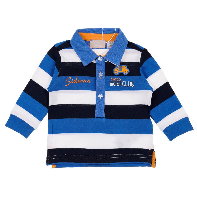 Памучна раирана блуза с апликация за бебе, многоцветна  246120