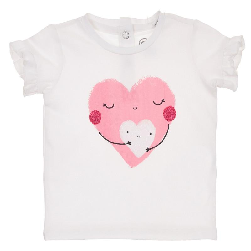 Памучна тениска със сърце за бебе , бяла  246128