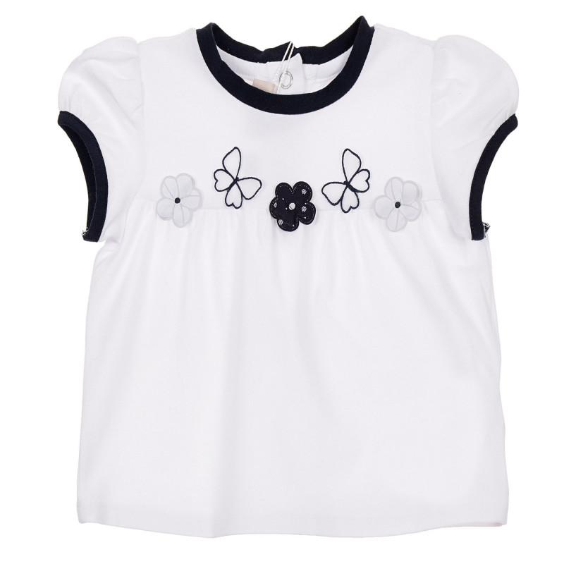 Памучна тениска с апликация цветя за бебе, бяла  246140