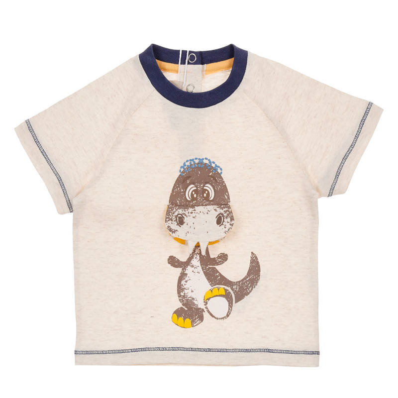 Памучна тениска с щампа на динозавър за бебе, беж  246148