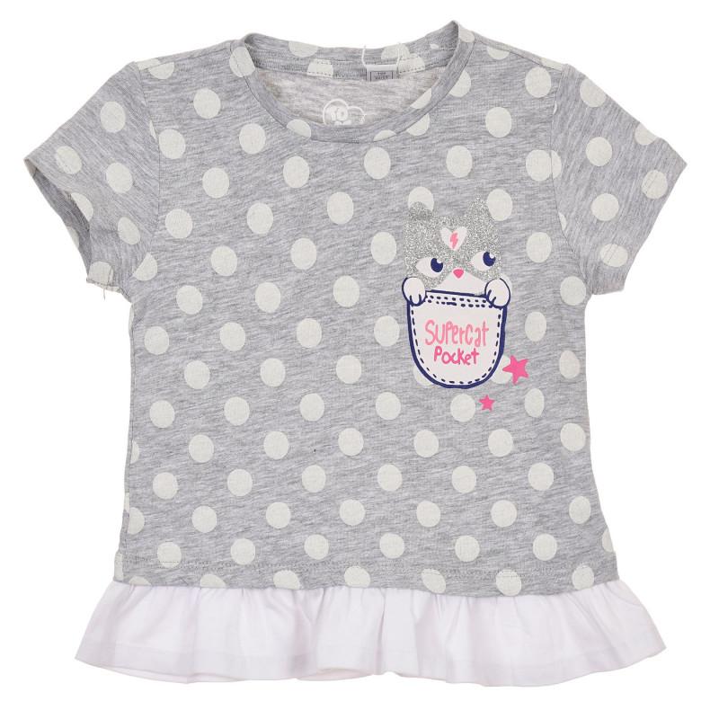 Памучна тениска с фигурален принт за бебе, сива  246152