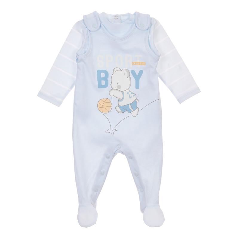 Памучен комплект от боди и гащеризон Sport boy за бебе, синьо  246160