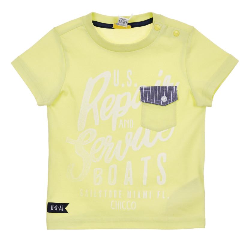 Памучна тениска с графичен принт за бебе, зелена  246166