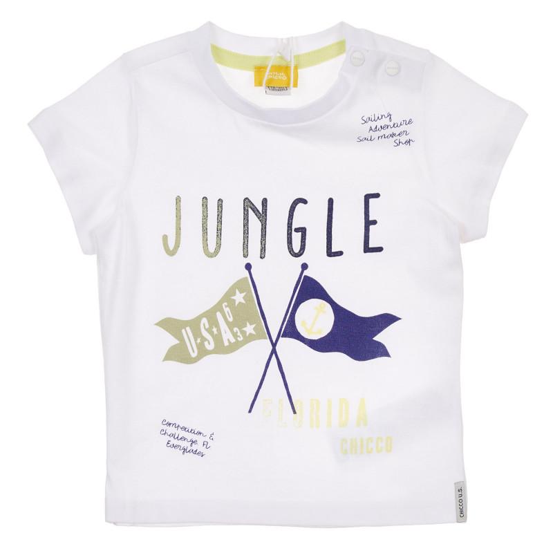 Памучна тениска с графичен принт за бебе, бяла  246170
