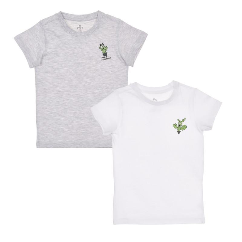 Памучен комплект от два броя тениски с щампа на кактус за бебе  246184