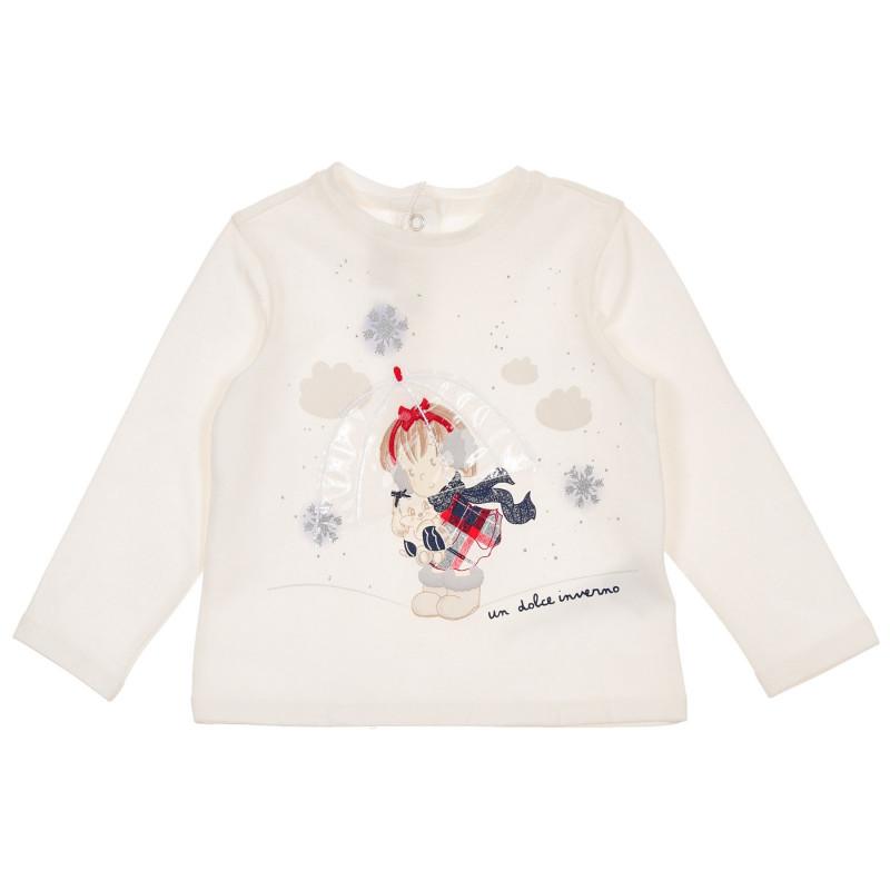 Памучна блуза с апликация за бебе, бяла  246194