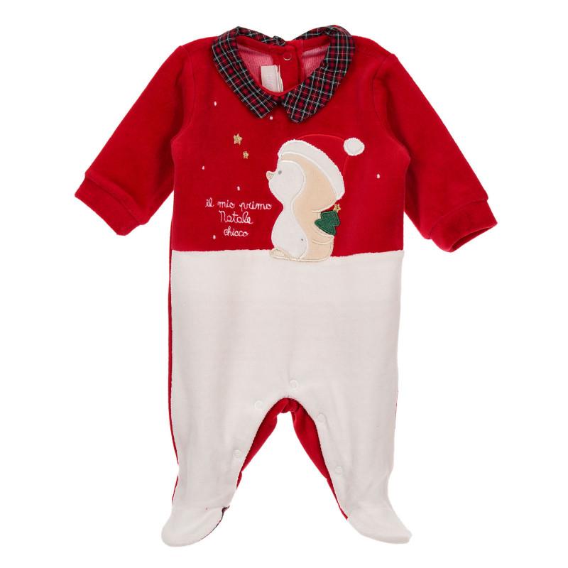 Плюшен гащеризон с коледни мотиви в бяло и червено за бебе  246198