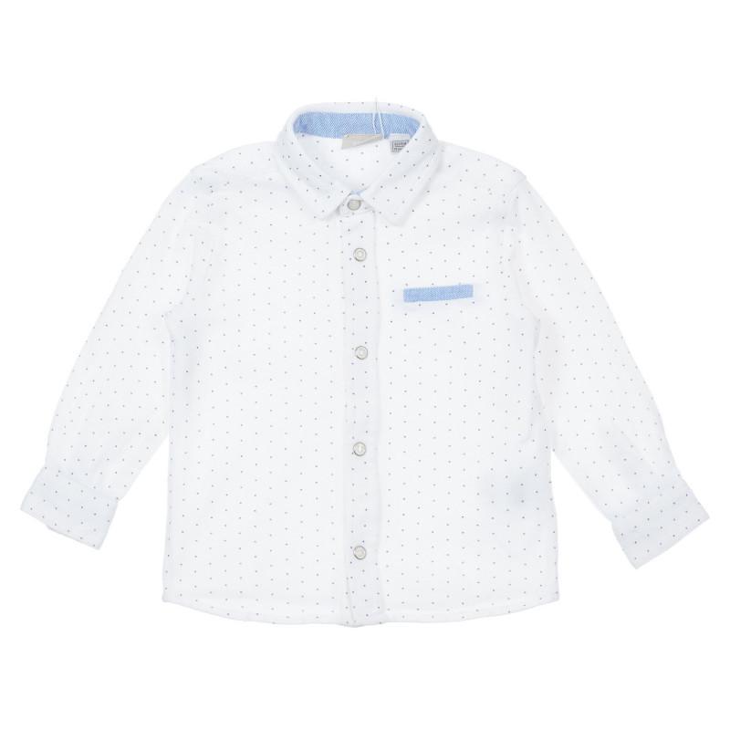 Памучна риза с фигурален принт за бебе, бяла  246218