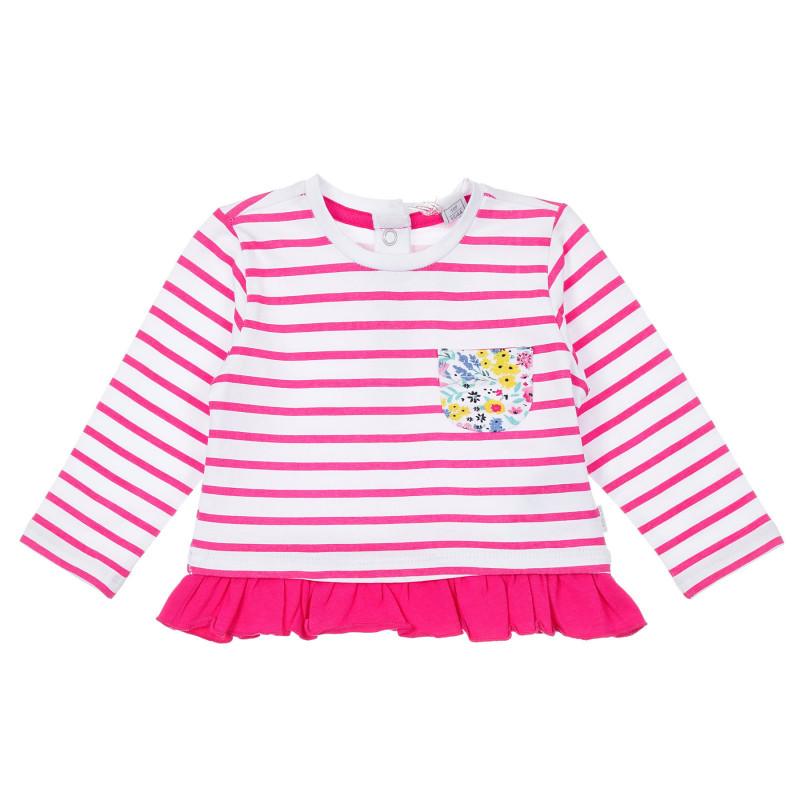 Памучна раирана блуза с къдрички за бебе, розова  246222