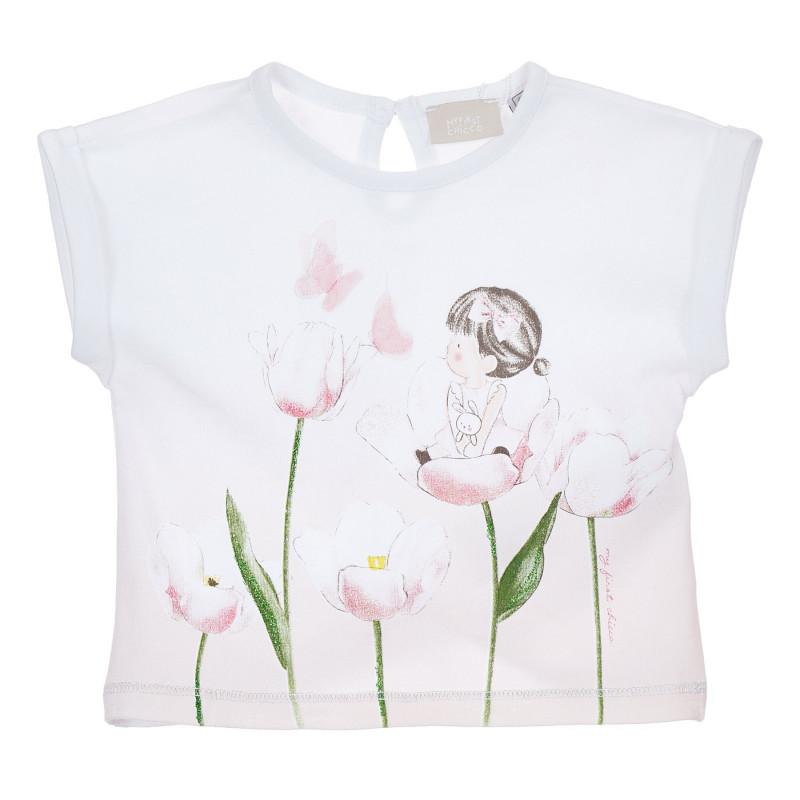 Памучна тениска с щампа на цветя за бебе, бяла  246230