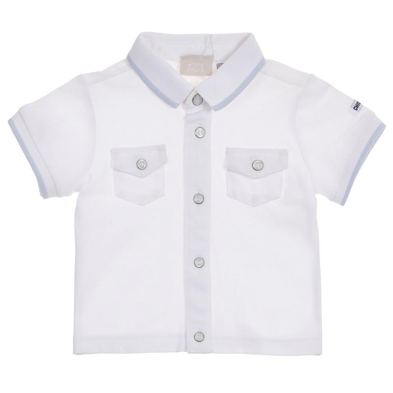 Памучна блуза с къс ръкав за бебе, бяла  246238