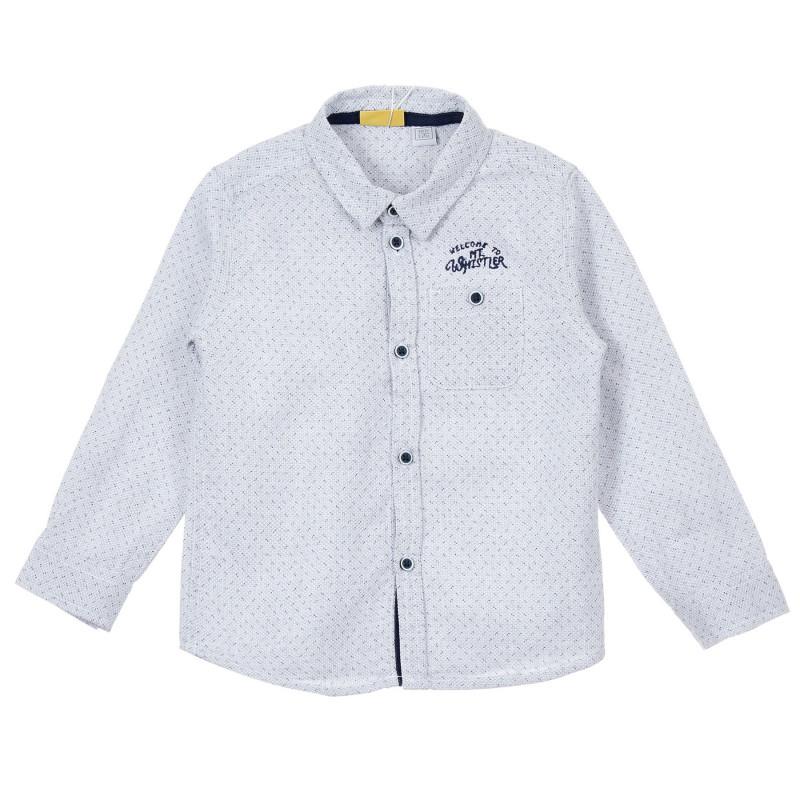 Памучна риза с фигурален принт за бебе, бяла  246246