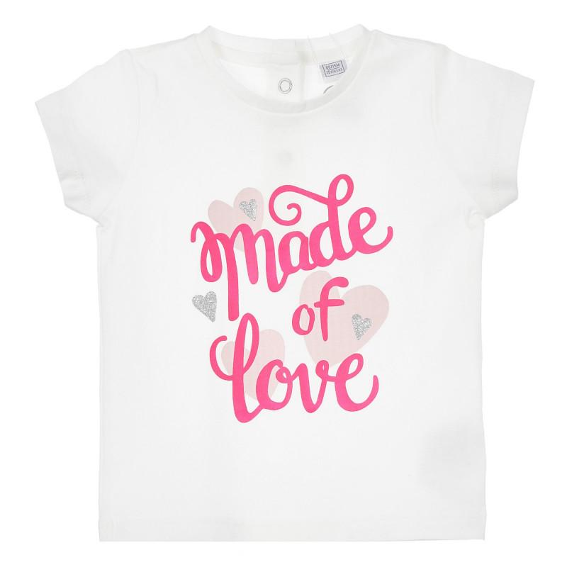 Памучна тениска с розови акценти за бебе, бяла  246270