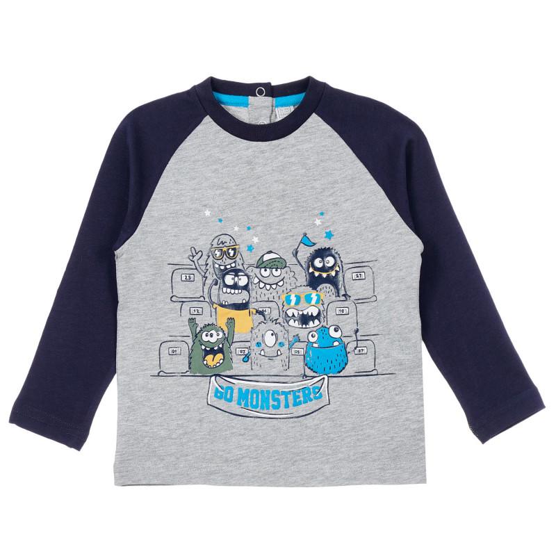 Памучна блуза с щампа на чудовища за бебе, сива  246274