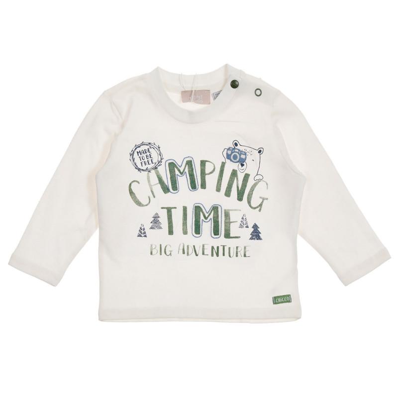Памучна блуза Camping time за бебе, бяла  246282