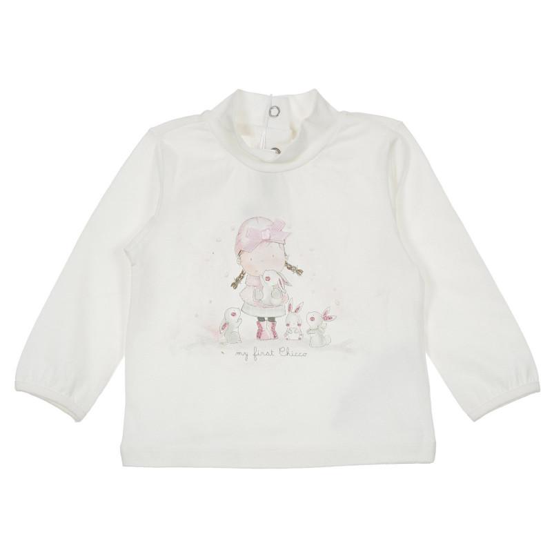 Памучна блуза с щампа на момиче за бебе, бяла  246294