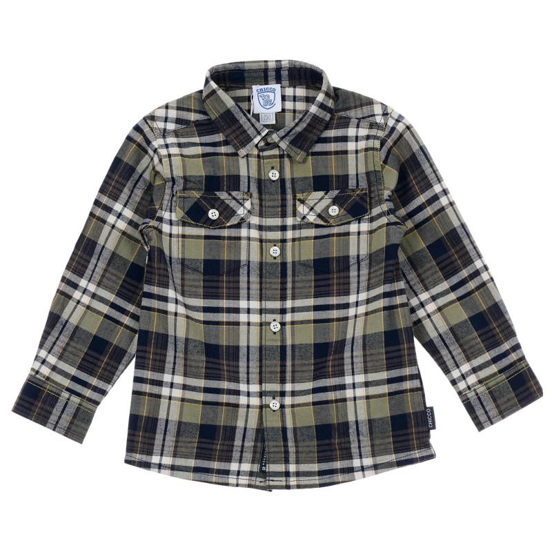 Памучна карирана риза със зелени акценти за бебе  246314
