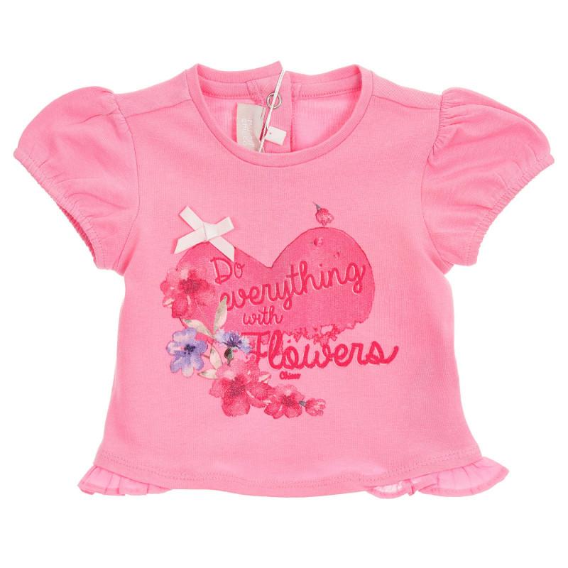 Памучна тениска с щампа и панделка за бебе, розова  246334