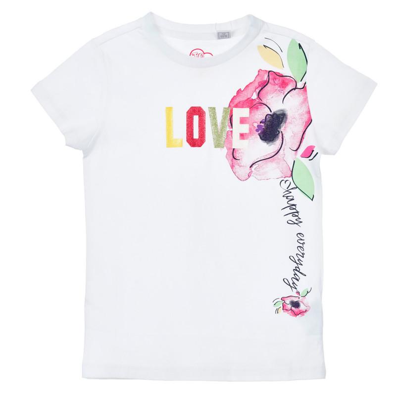 Памучна тениска с щампа на цвете и надпис, бяла  246338