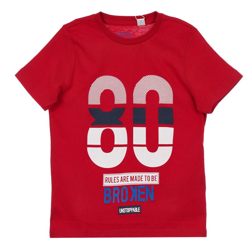 Памучна тениска с щампа, червена  246350