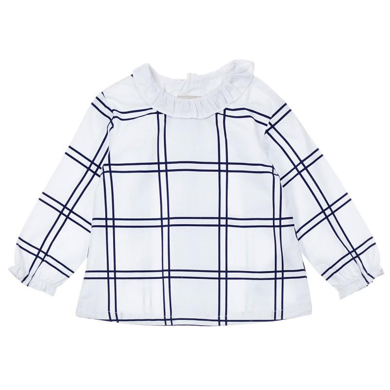 Памучна блуза с къдрички и сини акценти за бебе, бяла  246354
