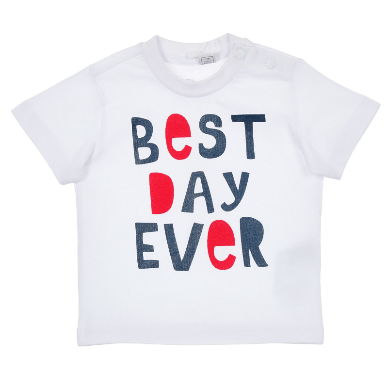 Памучна тениска Best day ever за бебе, бяла  246362