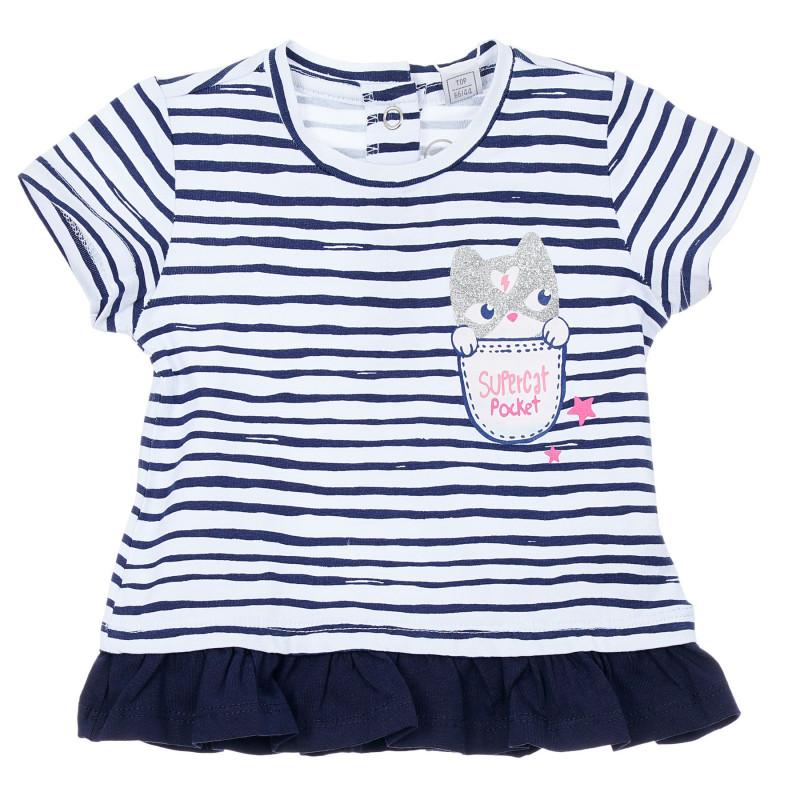 Памучна раирана тениска с къдрички за бебе, синя  246366