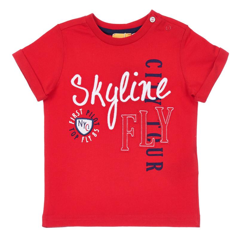 Памучна тениска с надписи за бебе, червена  246369
