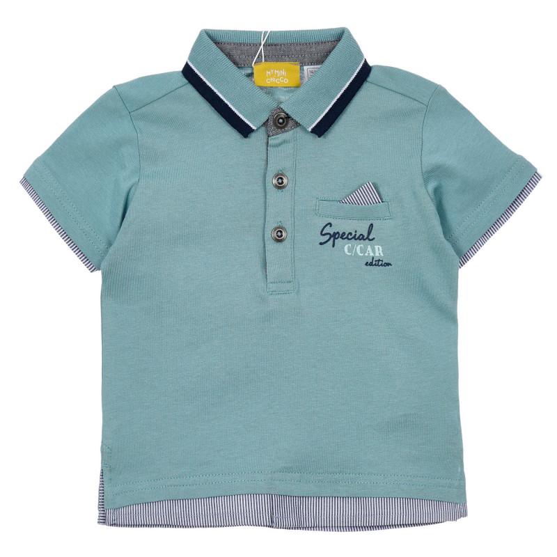 Памучна тениска с яка за бебе , зелена  246373