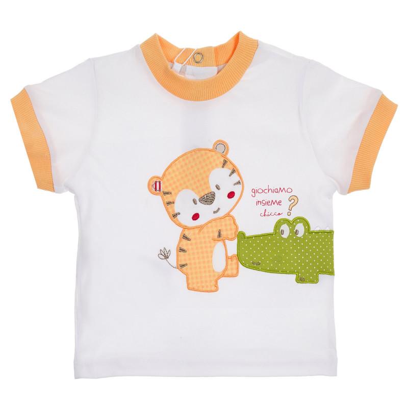 Памучна тениска с апликация и оранжеви акценти за бебе, бяла  246381
