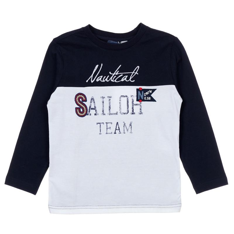 Памучна блуза с графичен принт и сини акценти, бяла  246401