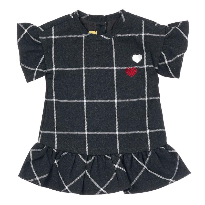 Памучна карирана рокля за бебе, черна  246405