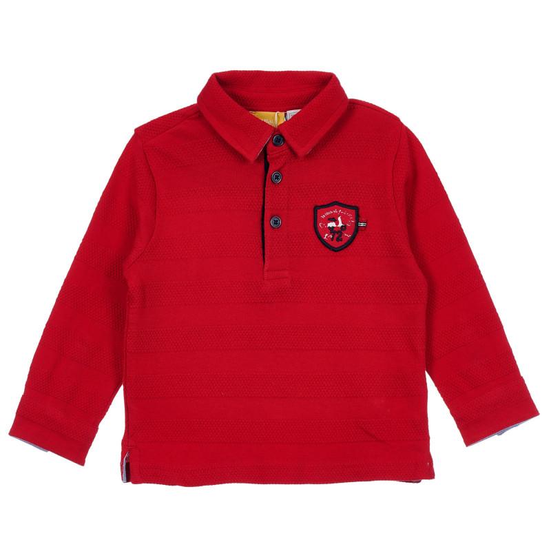 Памучна блуза с апликация за бебе, червена  246409
