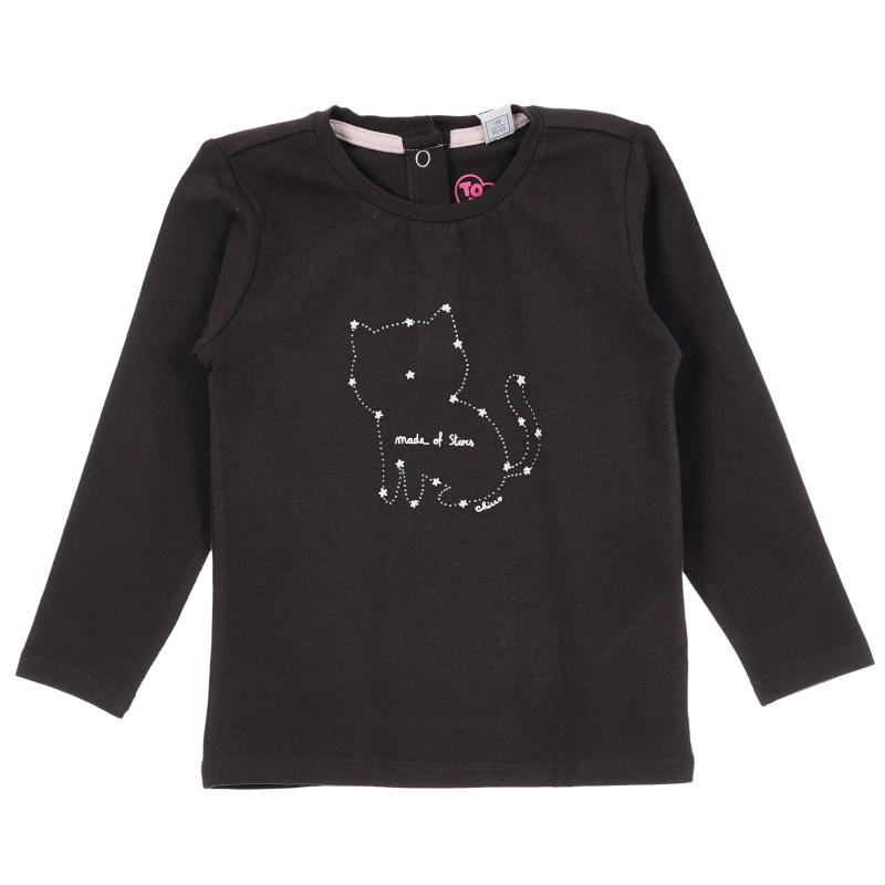 Памучна блуза с щампа на коте за бебе, тъмно кафява  246417
