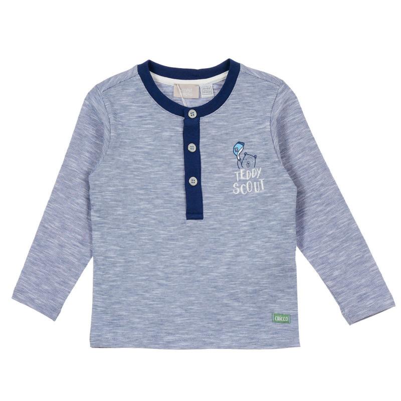 Памучна блуза с малка щампа на мече за бебе, синя  246421