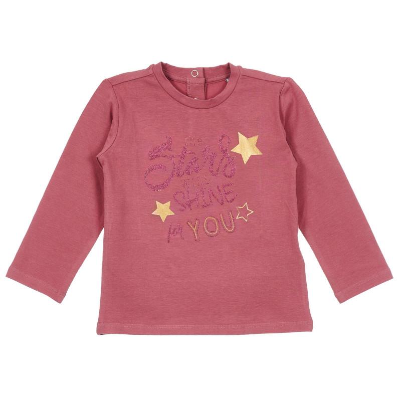 Памучна блуза с брокатен надпис за бебе, тъмно розова  246429