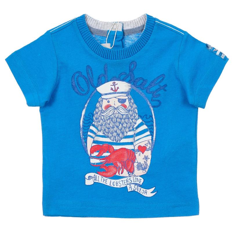 Памучна тениска за бебе, синя  246445