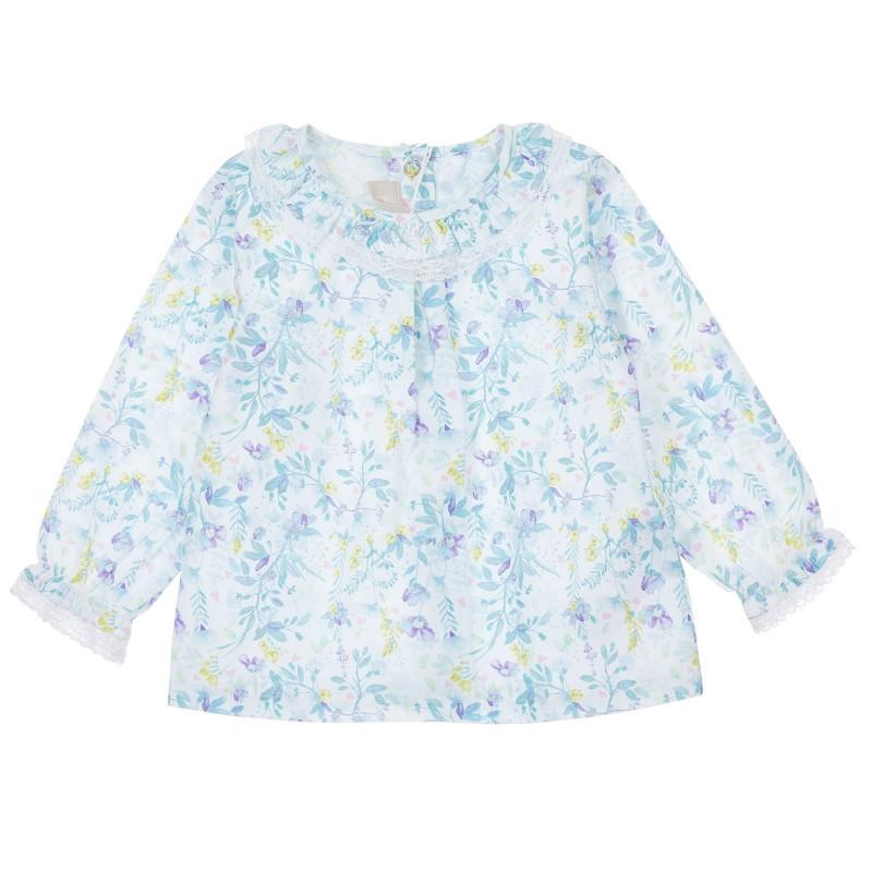 Памучна блуза с флорални мотиви за бебе, многоцветна  246457