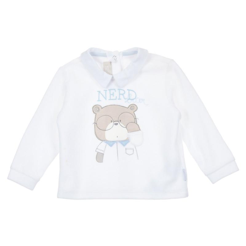 Блуза с дълъг ръкав и яка за бебе, бяла  246465