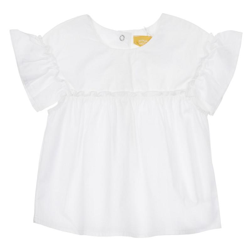 Памучна блуза с къдрички за бебе, бяла  246469