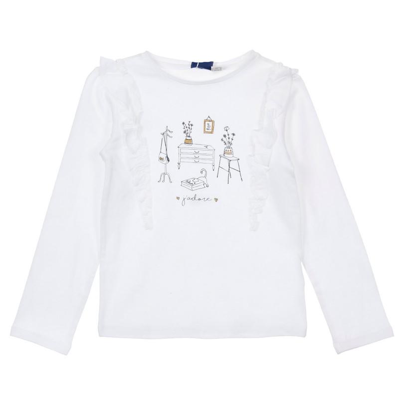 Памучна блуза Home за бебе, бяла  246473