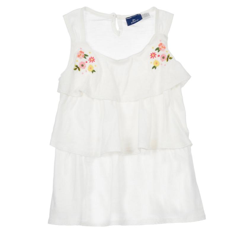 Памучна блуза без ръкав с къдрички за бебе, бяла  246496