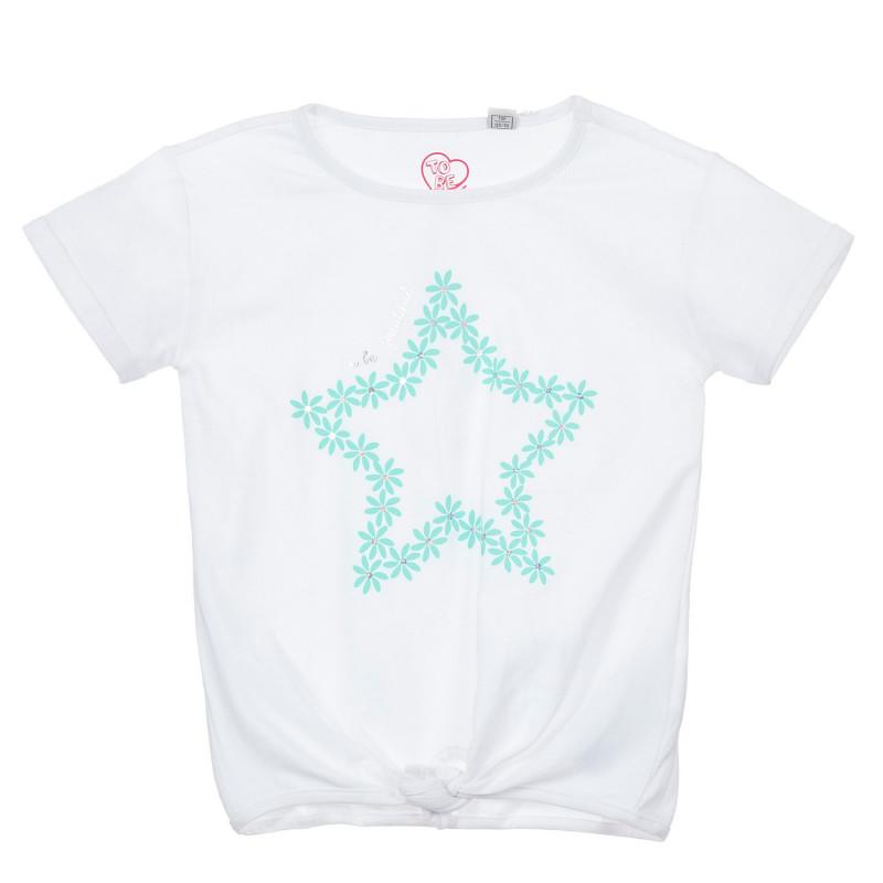 Памучна тениска със звезда, бяла  246504