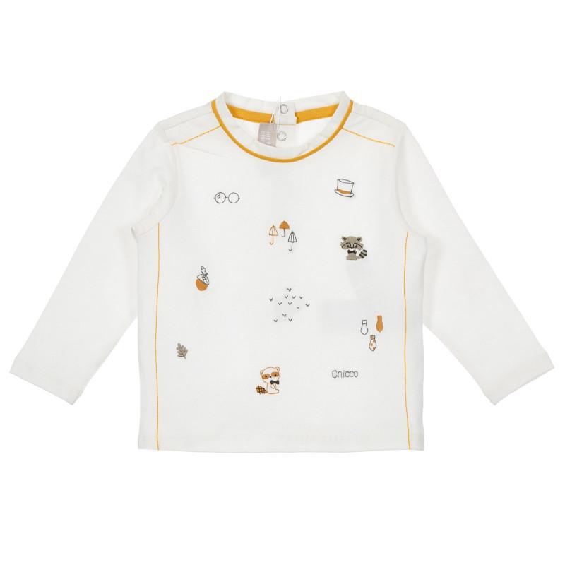 Памучна блуза с оранжеви акценти за бебе, бяла  246564